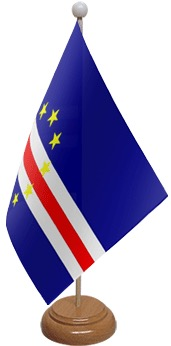 Cape Verde Table Flag With Wooden Base
