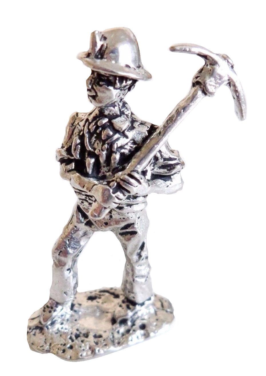 Hand Made in Cornwall Cornish Tin Miner With Pick Solid Pewter Ornament