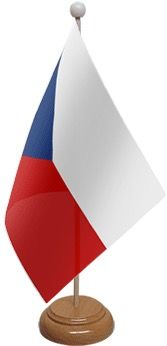 Czech Republic Table Flag With Wooden Base