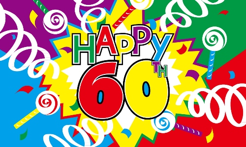 Happy 60th Birthday Streamer 5x3 150cm X 90cm Flag