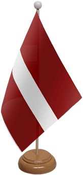Latvia Table Flag With Wooden Base