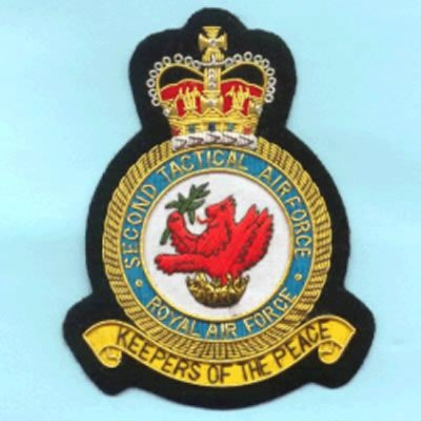 2 Second Tactical Airforce Squadron Royal Air Force RAF GOLD WIRED Blazer Embroidered Badge