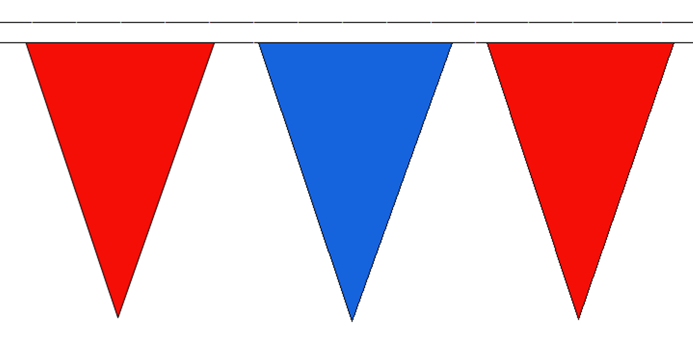 Large 54 Flags Red /& Royal Blue 20M Triangle Flag Bunting Triangular